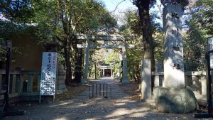 赤坂氷川神社 鳥居と社号標