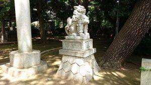 玉川神社 鳥居前狛犬 吽