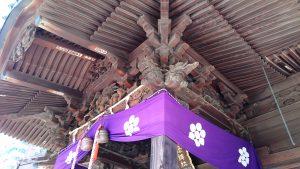 汐入胡録神社 拝殿向拝部彫刻・組物