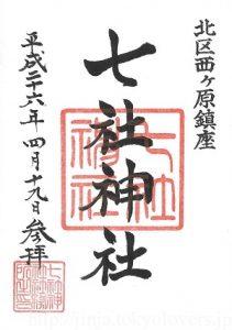 七社神社 御朱印(平成26年)