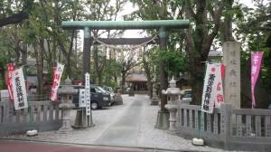 上神明天祖神社 鳥居と社号標