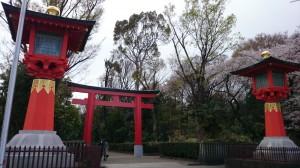 井草八幡宮 北参道鳥居・大灯籠