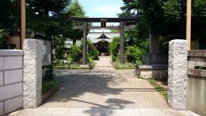 鷺宮八幡神社 鳥居と社号標