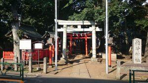 西高井戸松庵稲荷神社 鳥居と社号標