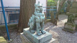 寄木神社 青銅狛犬 (1)