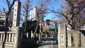 白髭神社(東向島) 一の鳥居と社号標