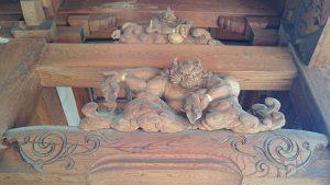 多摩市・小野神社 随身門彫刻 風神