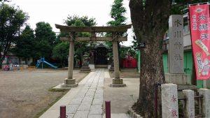 大田区矢口氷川神社 鳥居と社号標