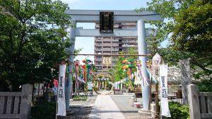 亀戸浅間神社 鳥居と社号標