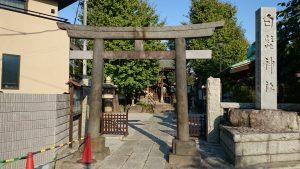 渋江白髭神社(客人大権現) 鳥居と社号標