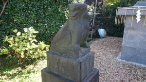 立石熊野神社(五方山熊野神社) 鋳造五重塔狛犬 (1)