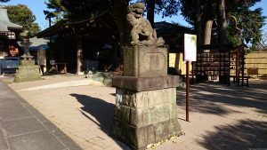 沼袋氷川神社 文久4年子育て狛犬 (子抱)