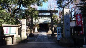 千住仲町氷川神社 鳥居と社号標