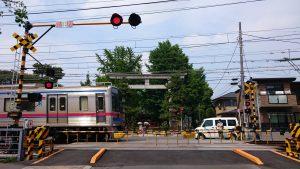 葛飾八幡宮 鳥居の前を通過する京成線の電車