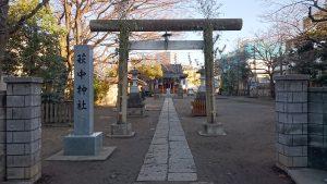萩中神社 鳥居と社号標