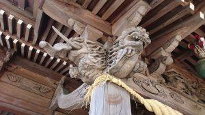 三輪厳嶋神社 向拝部彫刻 木鼻