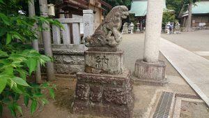 有鹿神社 本宮 鳥居前狛犬 吽